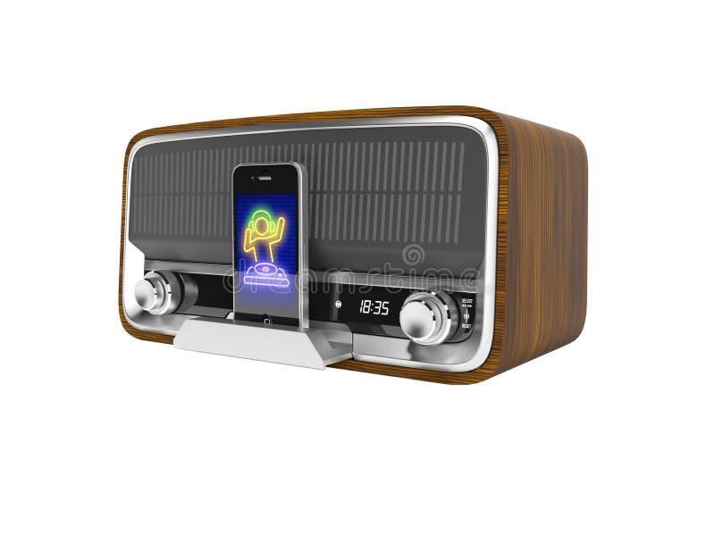 Le haut-parleur portatif classique de concept pour écouter la musique du smartphone 3d rendent l'illustration sur le fond blanc a illustration de vecteur