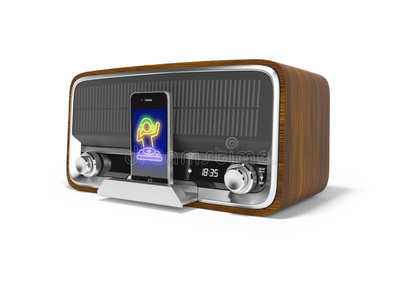 Le haut-parleur portatif classique de concept pour écouter la musique du smartphone 3d rendent l'illustration sur le fond blanc a illustration stock
