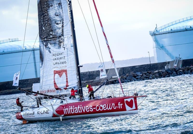 Le Havre / France - Νοέμβριος 2017: Transat Jacques Vabre, Imoca class, Initiative coeur, Tanguy De Lamotte, Samues στοκ εικόνες