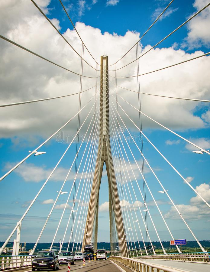 """Le Havre, France - 29 juin 2012 Pont """"Pont du Normandie """" photographie stock"""