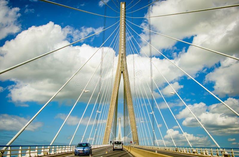 Le Havre, France - June 29, 2012. Bridge `Pont du Normandie`.  royalty free stock photos