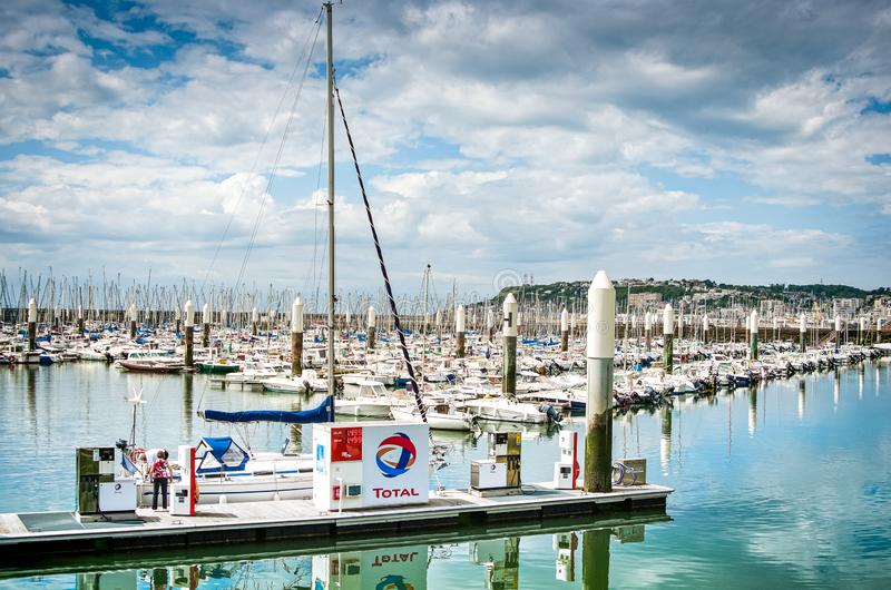 Le Havre, France - June 29, 2012. Gas station for boats in famous port in Normandy.  royalty free stock images