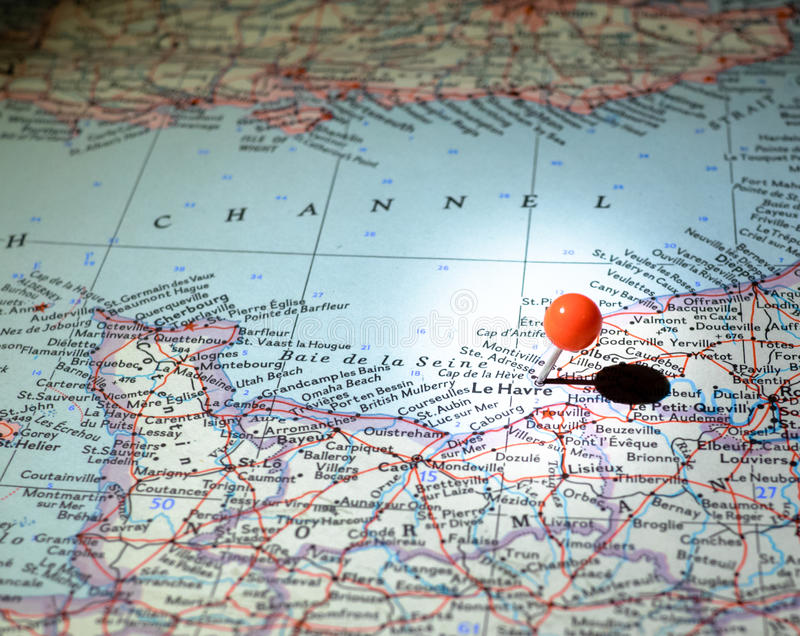 Le Havre France pinned on the route map. Le Havre France indicated on the map with red pin royalty free stock photo