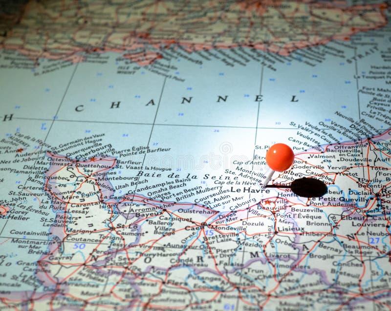 Le Havre Francia appuntata sulla mappa di itinerario fotografia stock libera da diritti
