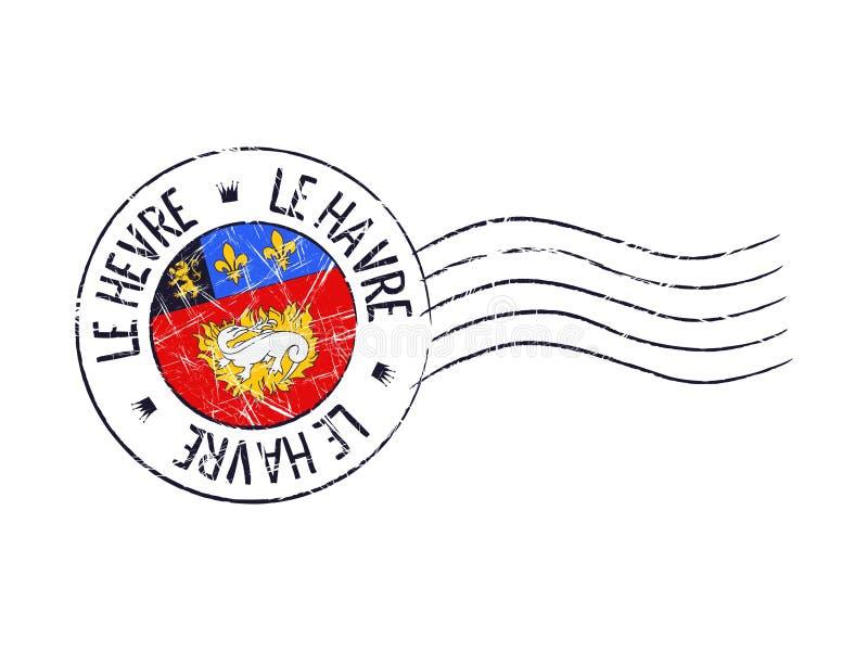 Le Havre Stadt-Schmutz-Poststempel lizenzfreie abbildung
