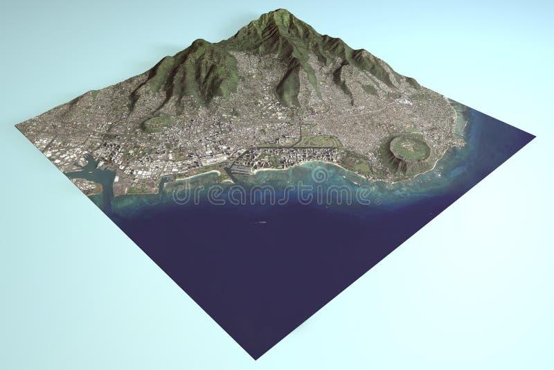 Le Hawai, Honolulu, Waikiki, vista satellite, sezione 3d illustrazione di stock