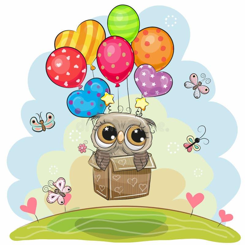 Le hibou dans la boîte vole sur des ballons illustration libre de droits