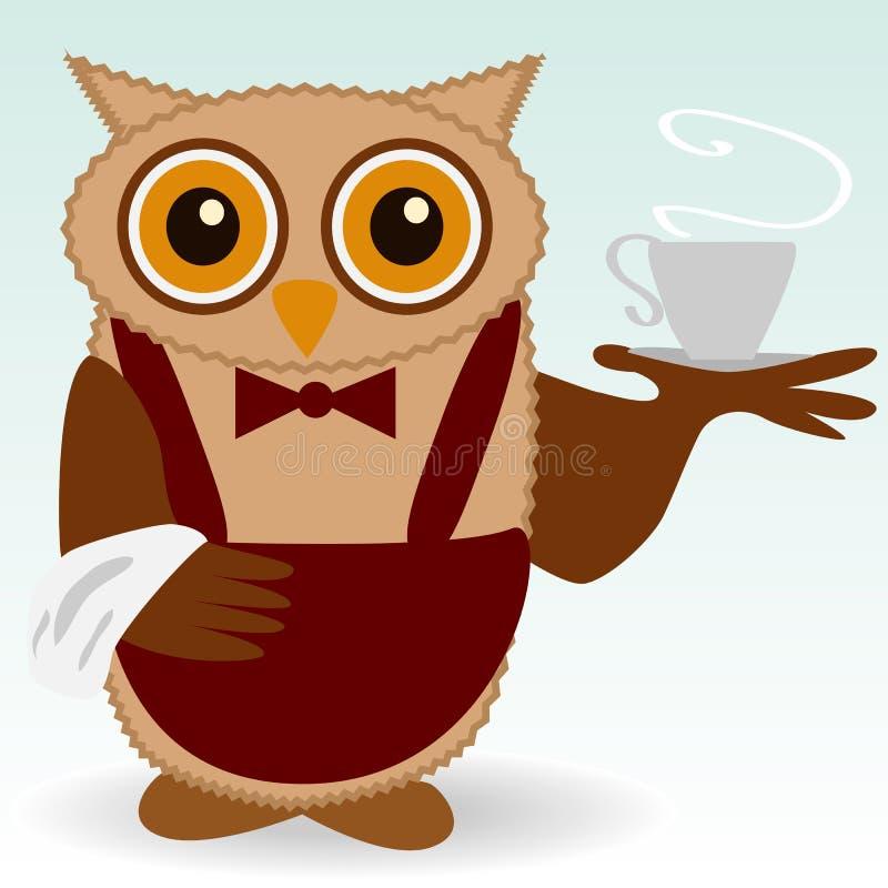Le hibou-serveur dans le claret et le papillon Bourgogne, avec une tasse de cuire le café à la vapeur, thé, une serviette sur l'a illustration de vecteur