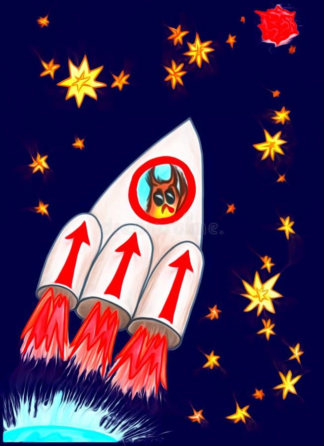 Le hibou vole dans l'espace illustration stock