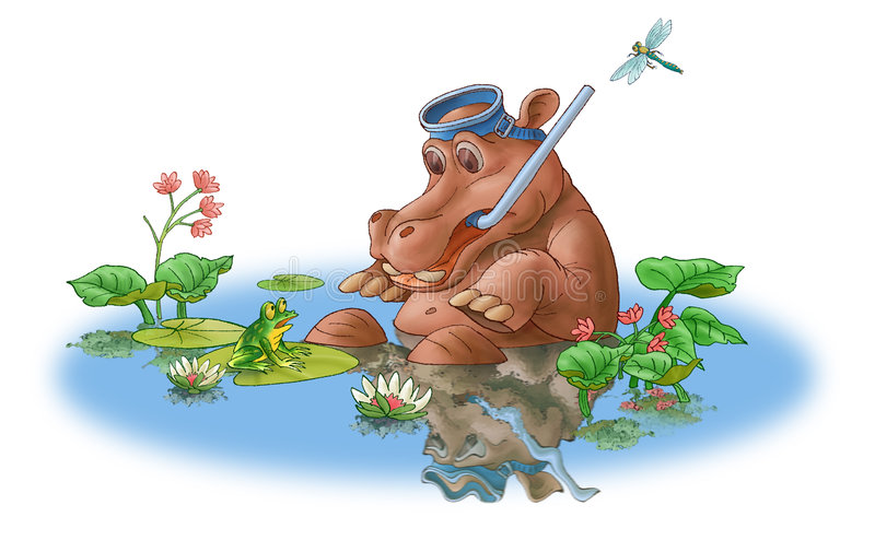 Le hippopotamus et la grenouille. illustration stock