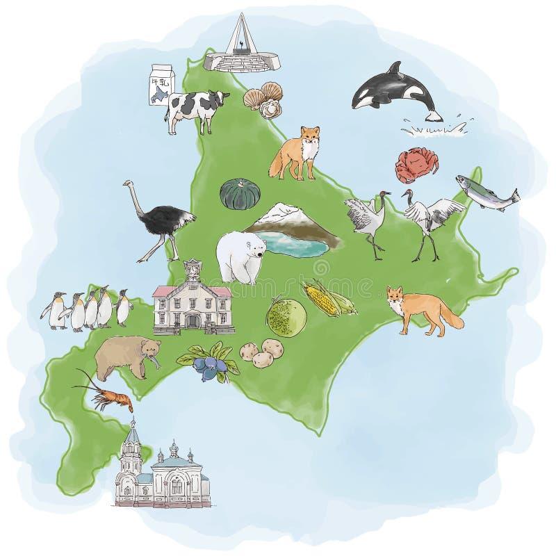 Le Hokkaido, île du nord du Japon - illustration d'aquarelle de carte de voyage illustration de vecteur