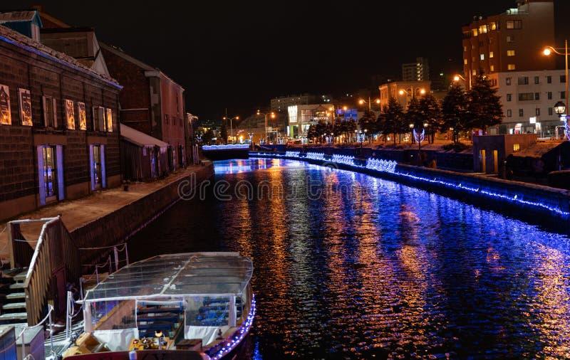 Le Hokkaido, Japon - novembre 2018 : Canal d'Otaru dans la scène de nuit d'hiver image libre de droits