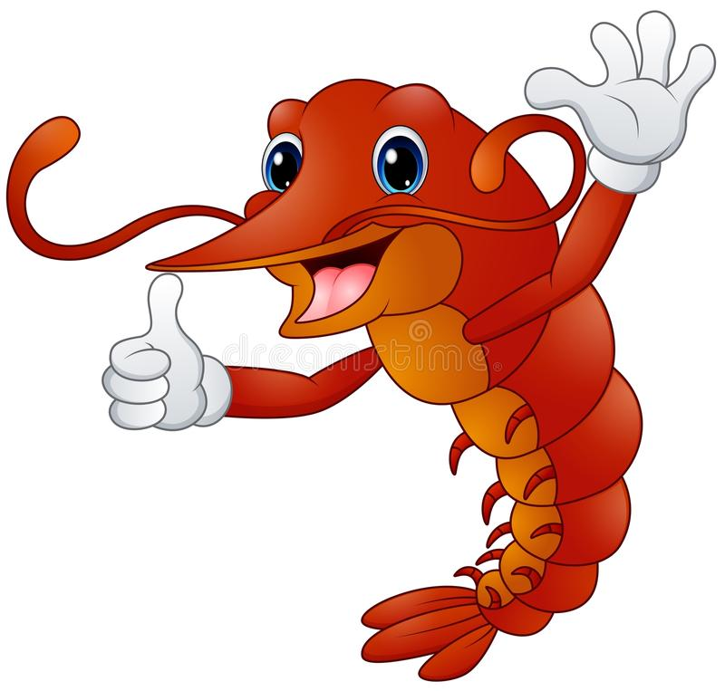Le homard de bande dessinée dans les gants renonce au pouce illustration libre de droits