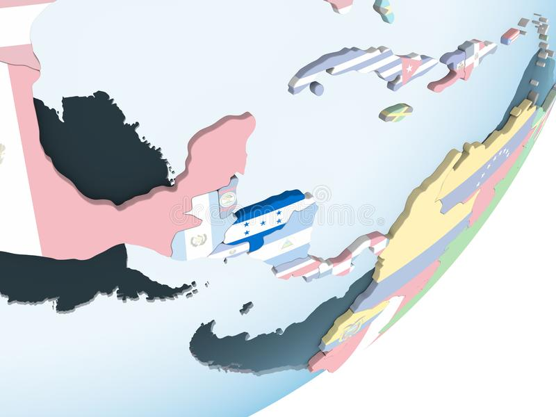Le Honduras avec le drapeau sur le globe illustration libre de droits