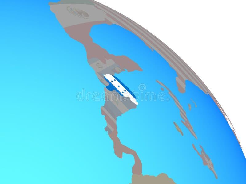 Le Honduras avec le drapeau sur le globe illustration stock