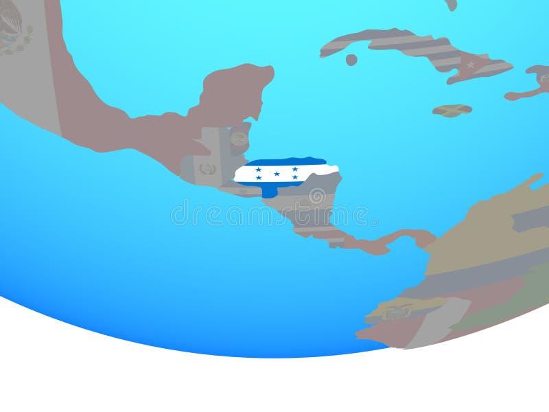 Le Honduras avec le drapeau sur le globe illustration de vecteur