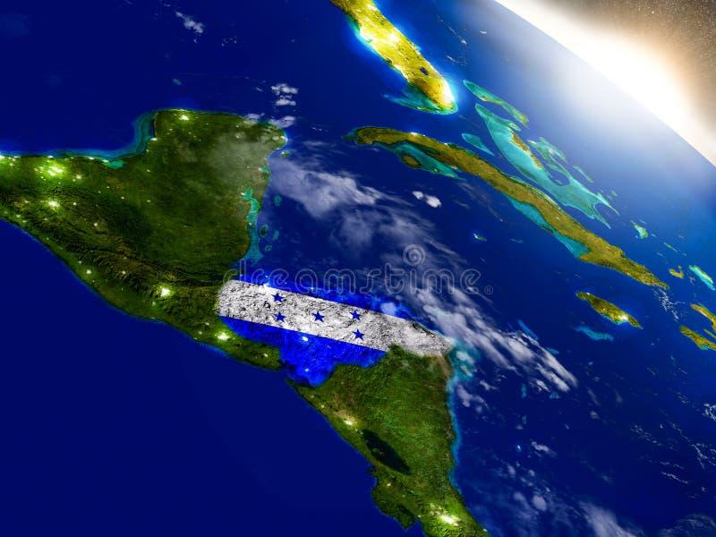 Le Honduras avec le drapeau en Soleil Levant illustration stock