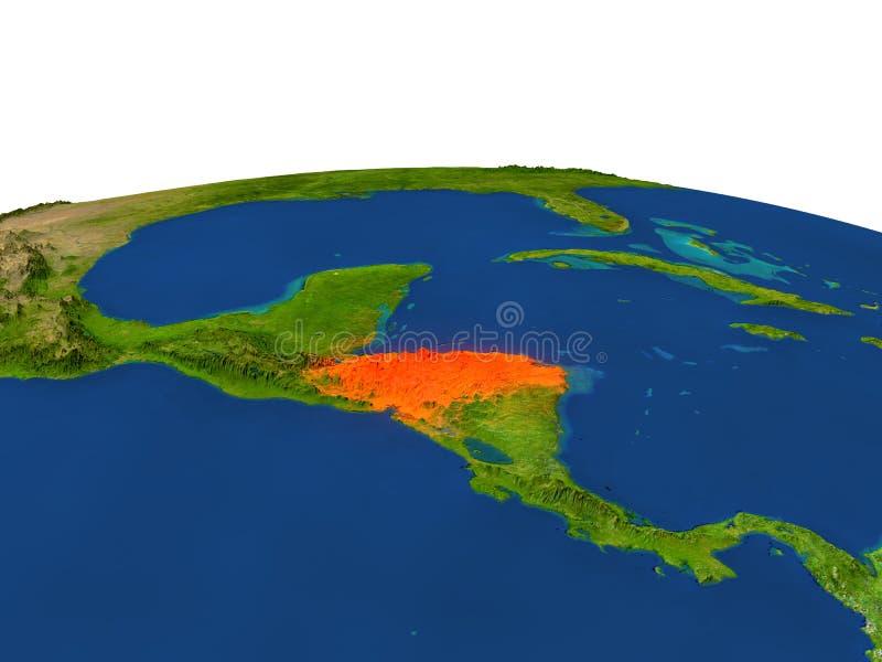 Le Honduras en rouge d'orbite illustration stock
