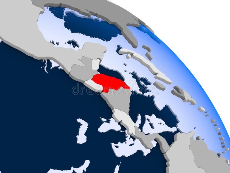 Le Honduras en rouge sur la carte illustration de vecteur