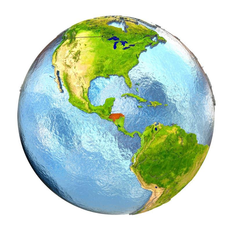 Le Honduras en rouge sur la pleine terre illustration stock