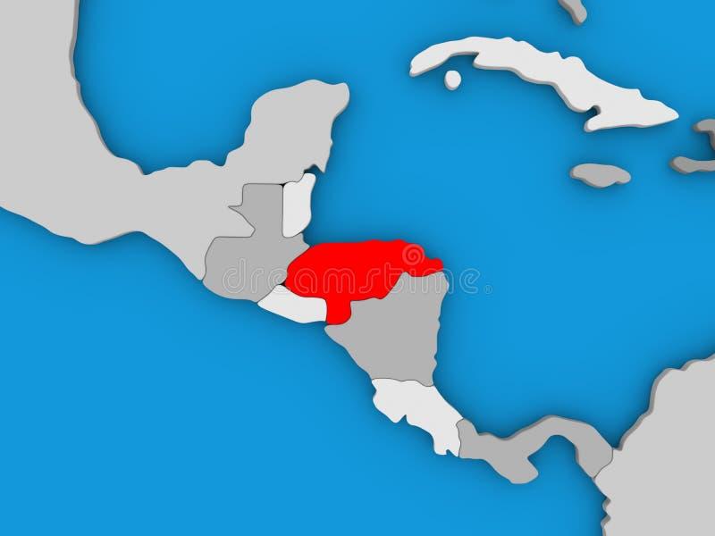 Le Honduras en rouge sur le globe illustration de vecteur