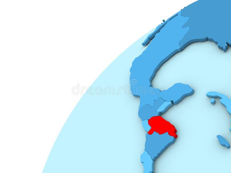 Le Honduras en rouge sur le globe bleu illustration de vecteur