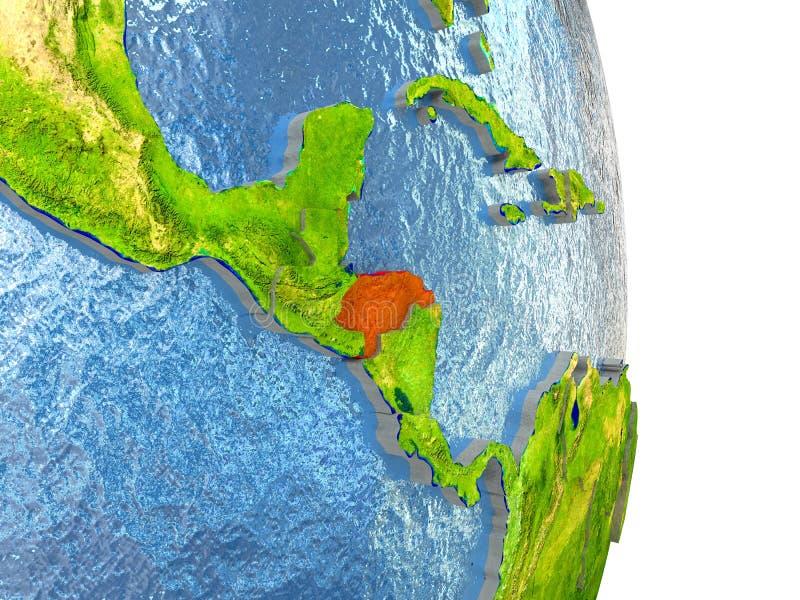 Le Honduras en rouge sur terre illustration stock