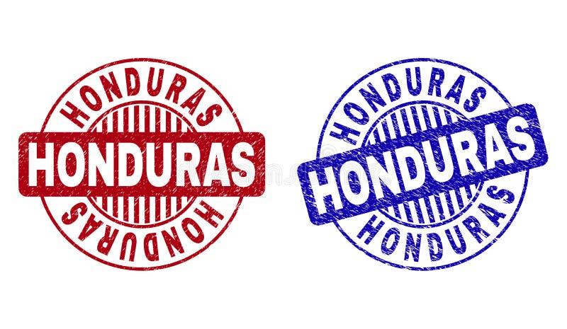 Le HONDURAS grunge a donné aux joints une consistance rugueuse ronds de timbre illustration de vecteur