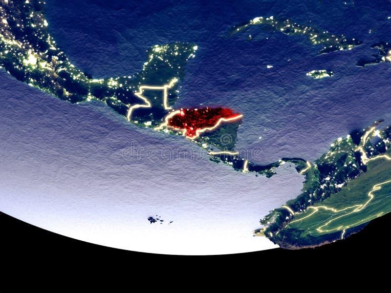 Le Honduras la nuit de l'espace illustration libre de droits