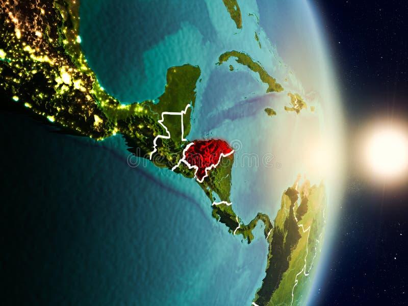 Le Honduras pendant le lever de soleil illustration de vecteur