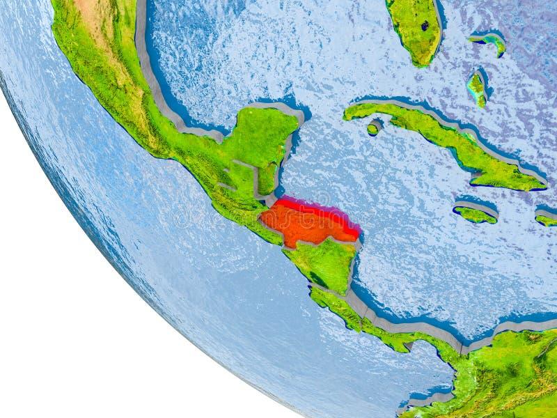 Le Honduras sur le globe illustration stock