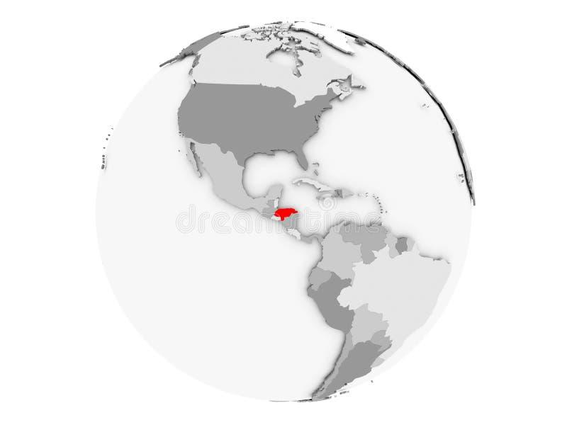 Le Honduras sur le globe gris d'isolement illustration stock