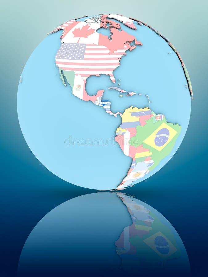 Le Honduras sur le globe politique avec des drapeaux illustration stock