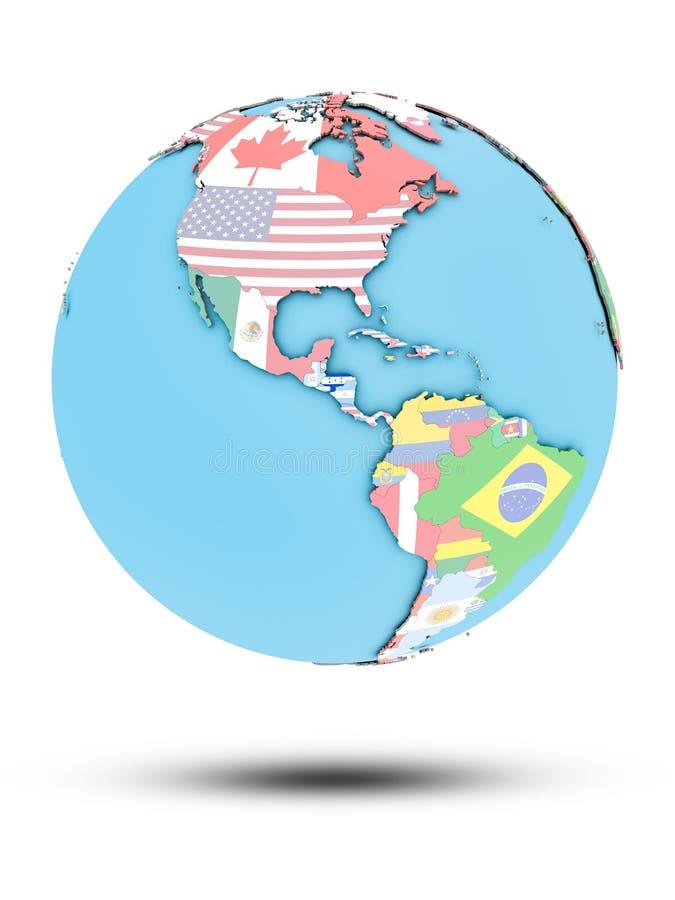 Le Honduras sur le globe politique avec des drapeaux illustration de vecteur