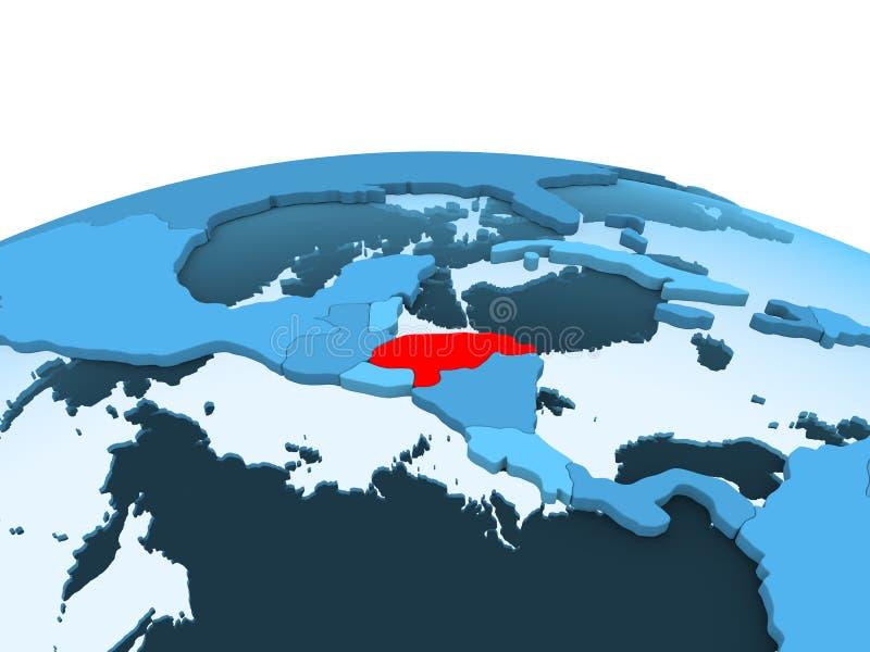 Le Honduras sur le globe politique bleu illustration de vecteur