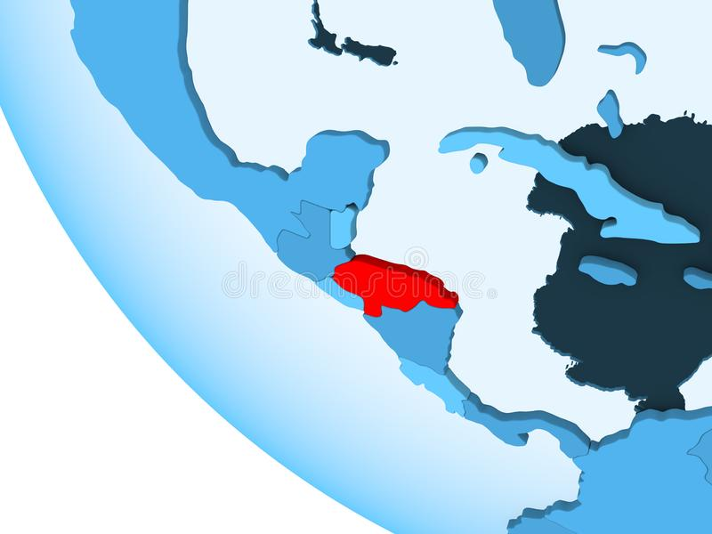 Le Honduras sur le globe politique bleu illustration stock