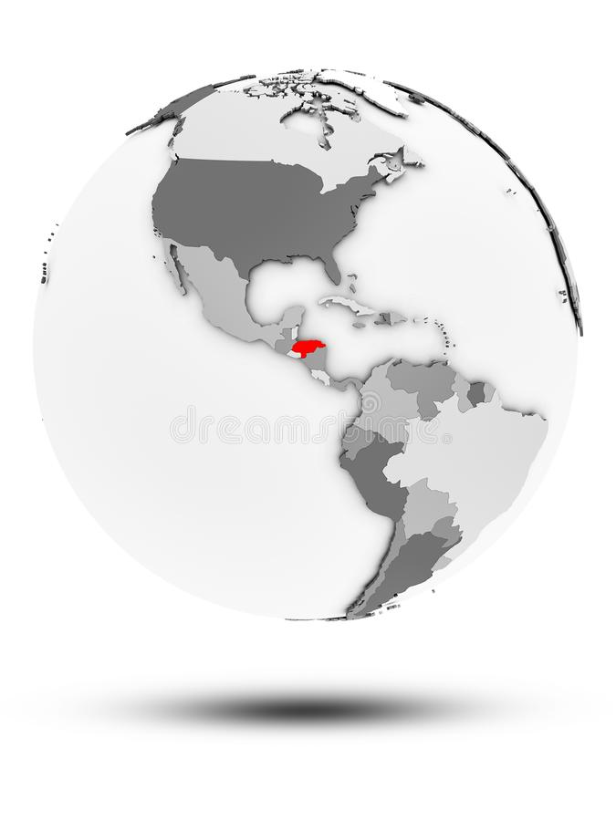 Le Honduras sur le globe politique d'isolement illustration stock