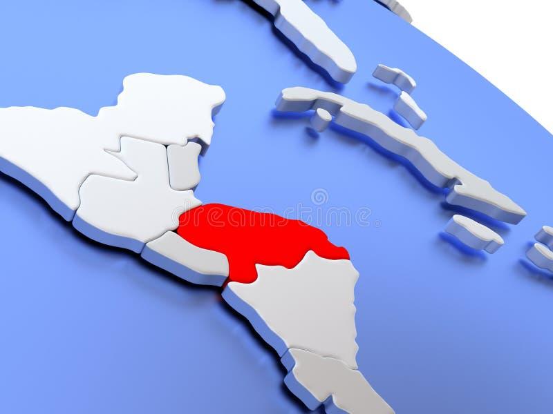 Le Honduras sur la carte du monde illustration stock