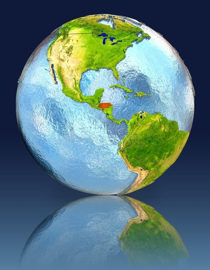 Le Honduras sur le globe avec la réflexion illustration libre de droits