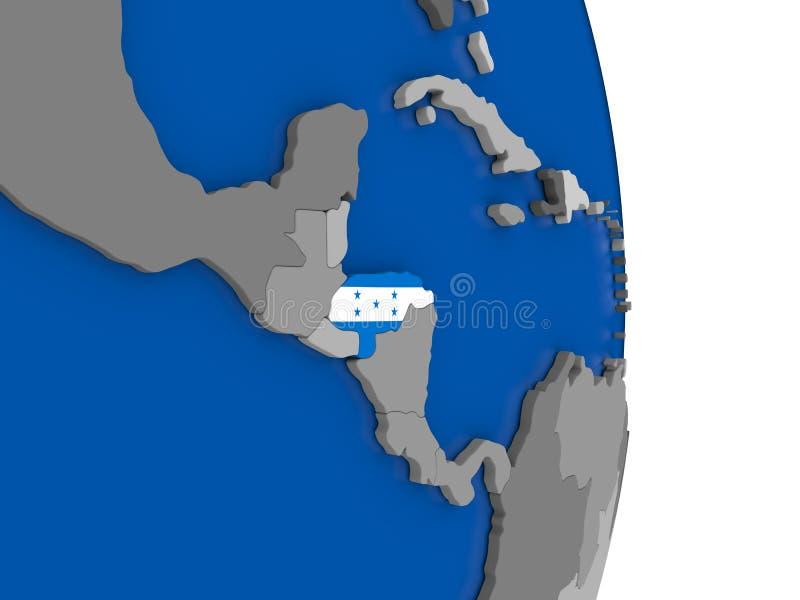 Le Honduras sur le globe avec le drapeau illustration de vecteur