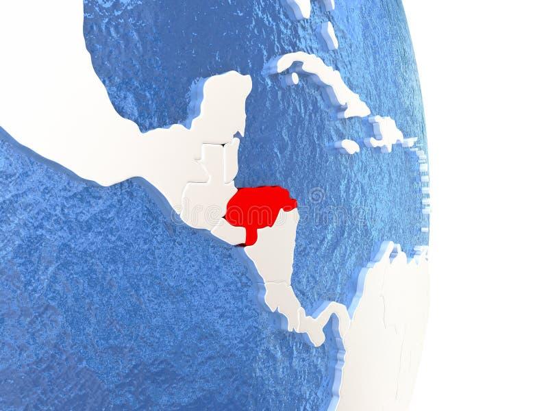 Le Honduras sur le globe brillant avec de l'eau illustration libre de droits