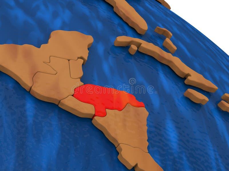 Le Honduras sur le globe en bois illustration stock