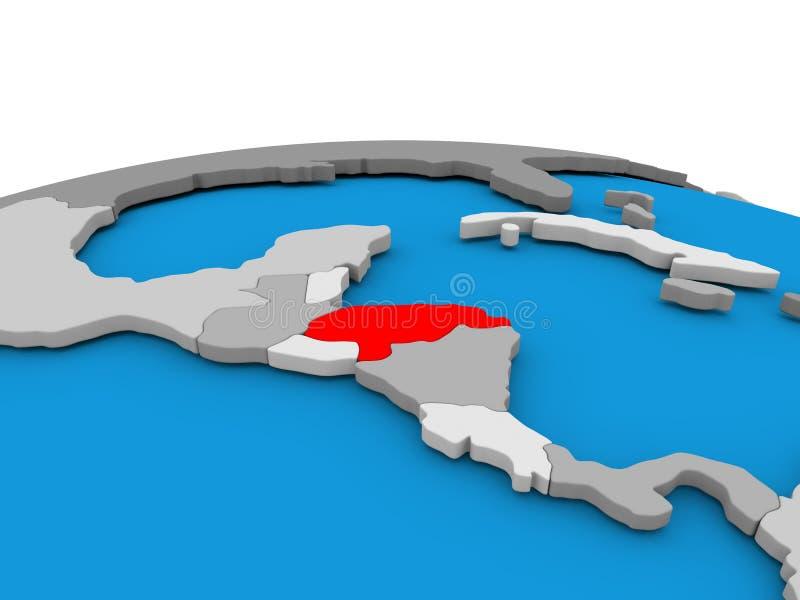 Le Honduras sur le globe en rouge illustration stock