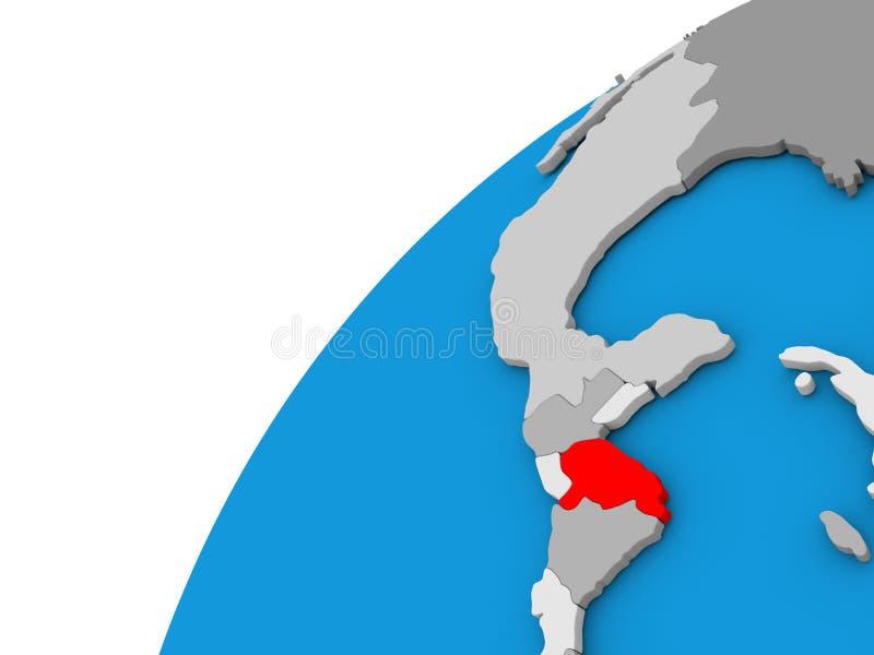 Le Honduras sur le globe en rouge illustration libre de droits