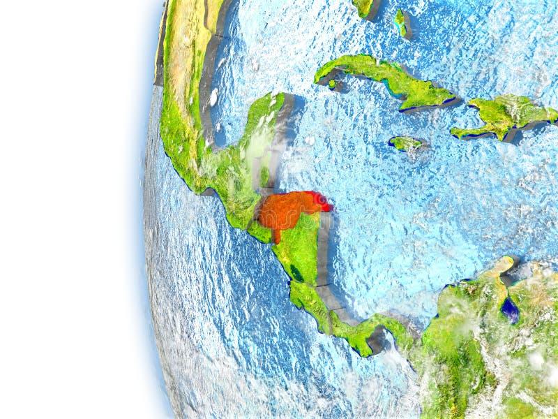 Le Honduras sur le modèle de la terre illustration libre de droits