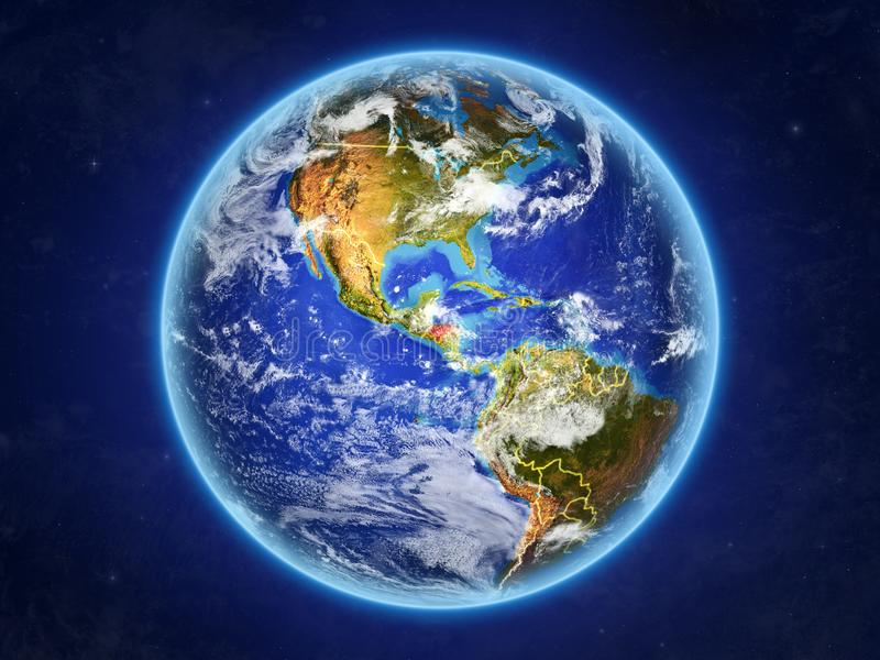 Le Honduras sur terre de l'espace illustration stock
