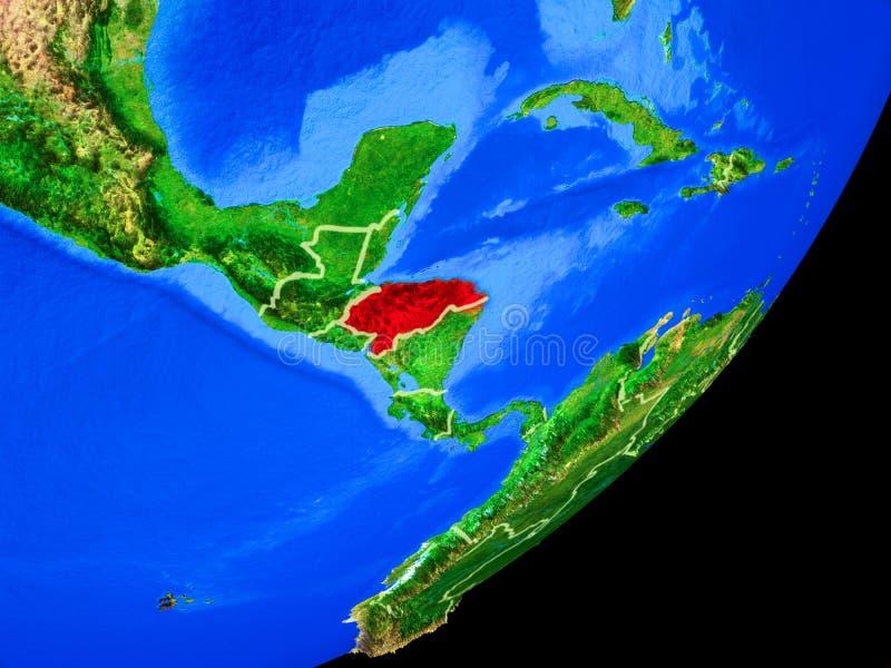 Le Honduras sur terre de l'espace illustration de vecteur