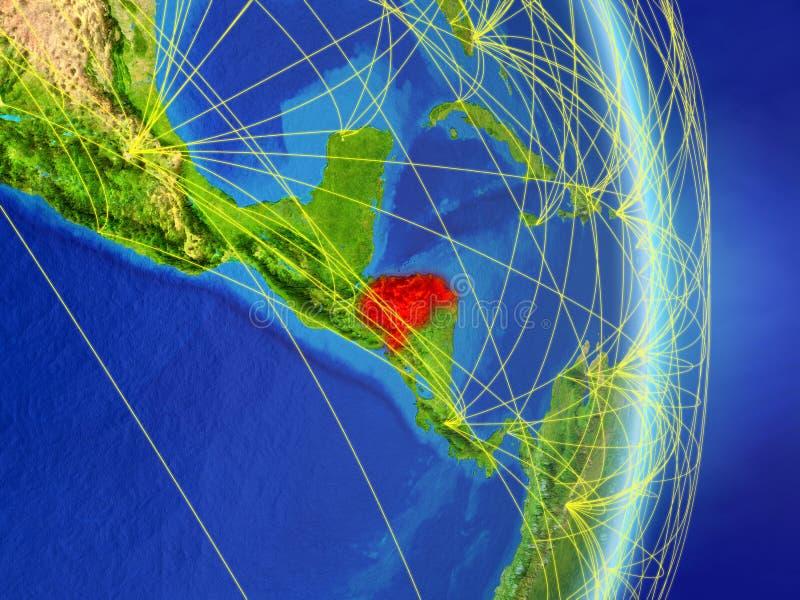 Le Honduras sur terre de planète de planète avec le réseau Concept de connectivité, voyage et communication illustration 3D Éléme illustration de vecteur
