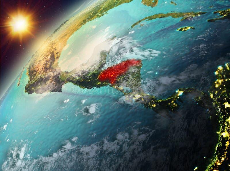 Le Honduras sur terre de planète dans le coucher du soleil illustration stock
