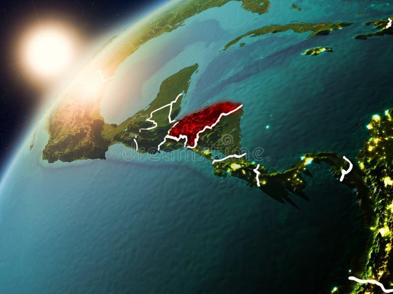 Le Honduras sur terre de planète dans le coucher du soleil illustration de vecteur
